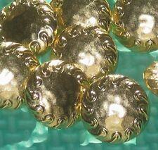"Set 12 Vintage New Gold Metal Fancy Hammered like Buttons 11/16"""