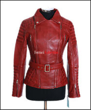 Shakira Red Ladies Retro Jacket Real Lambskin Catwalk Military Fashion Jacket