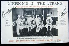 UK~ENGLAND~1909 LONDON ~ SIMPSON'S IN THE STRAND ~ VETERAN CARVERS ~ CHEFS~COOKS