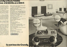Publicité Advertising 1973 (Double page) GRUNDIG la haute fidélité RTV 900 - 800