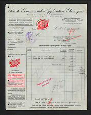 """LEVALLOIS-PERRET (92) APPLICATIONS CHIMIQUES / Carbure de Calcium """"META"""" en 1937"""