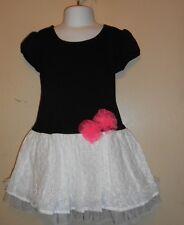Pinky Girls Dropped Waist Eyelet Skirt Dress Black & White Four (4) NWT
