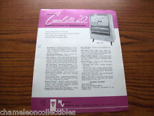 CONSOLETTE 20 By NATIONAL VENDORS ORIGINAL CIGARETTE VENDING MACHINE SALES FLYER