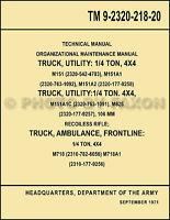 1960-1978 Jeep M151 Repair Shop Manual TM 9-2320-218-20 M151A1 M718 M718A1 M825