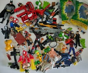 Junk Drawer Toys Lot Action Figure Mixed Accessories Small Soldiers Mario  As Is