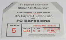 Ticket for collectors EC Bayer Leverkusen FC Barcelona 1988 Germany Spain