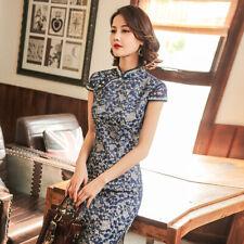 New Lace Deep Sea Blue Hollowed Floral Short Dress Cheongsam Qipao lcdress113