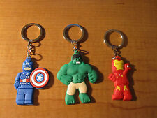 (3) AVENGERS Keychains Key Chain PVC Rubber FOB with Metal Ring Micro LEGO