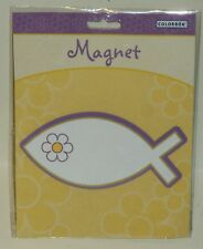 Colorbok Magnet JESUS FISH Purple Fish & Flower Outline With Gold NIP