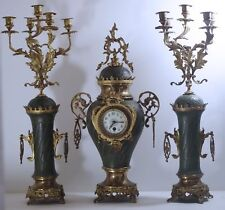 "XIX CENTURY FRENCH MANTEL JAPY FRERES CLOCK AND 2 CANDELABRAS 25"" ORMOLU ENAMEL"