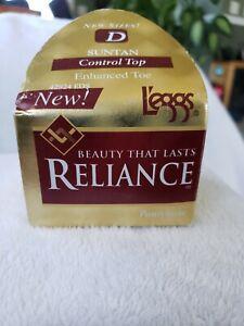L'eggs Reliance Size D Control Top Enhance Toe Pantyhose Suntan 1996 vintage