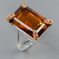 Cognac Quartz Ring Silver 925 Sterling 21x14 mm 22 ct IF gem Size 8.5 /R144590