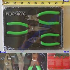 "New Snap On 5"" Green Soft Handle Pliers 3 Pcs Set PL305ACFG - 85ACF 95ACF 44ACF"
