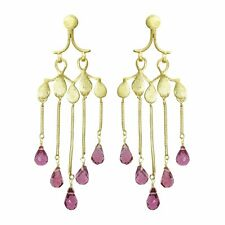 22K YELLOW GOLD PLATED HANDMADE DESIGNER PINK TOURMALINE DROP EARRINGS JEWELRY