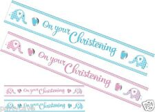 CHRISTENING BABY BOYS GIRLS PARTY 9FT SWEET ELEPHANT FOIL BANNER DECORATION 9