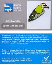 RSPB Pin Badge | Green Woodpecker | GNaH backing card [00872]