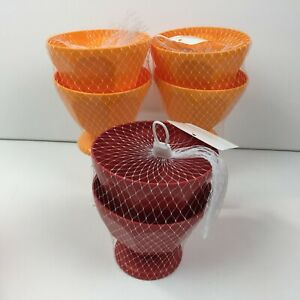 Red Orange Kitchen Set of 6 Plastic 17oz Ice Cream Sundae Bowls Dessert Pool BBQ
