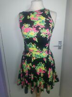 Tokyo Doll Size 10 Black Floral Mesh Stretch Pencil Wiggle Bodycon Party Dress