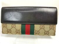 Auth GUCCI Sherry Line GG Canvas Leather Long wallet Purse Italy 57819345