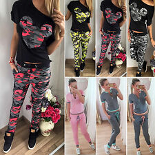 2Pcs Women Tracksuit Set Short Sleeve Tops T-shirt + Drawstring Pants Sportswear