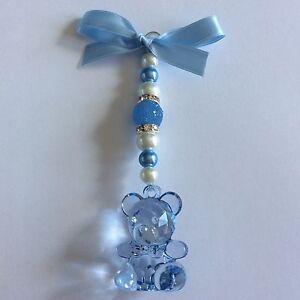 Personalised baby pram charms,handmade blue teddy boys keepsake christening gift