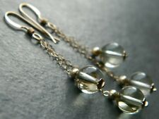 """Art Deco Natural Citrine Gemstone """"Pools of Light"""" Beads & Rolled Gold Earrings"""
