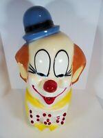 "Ceramic Circus Clown Head Carnival Art Bank Vintage Creepy  23"" Tall"