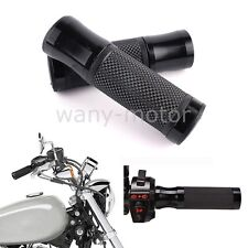 """Motorcycle CNC Rubber Gel Hand Grips for 7/8"""" 1"""" Handle Bar Bicycle Black Pair"""