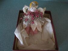 Antique Christmas Corsage Pin Mercury Glass Spun Cotton Chenille ANGEL Vtg paper