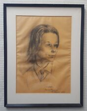 """JULIET PANNETT 1911-2005 original signed charcoal drawing """"Claire"""" dated 1969"""