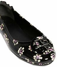 Tory Burch Reva Ballerina Ballet Flats Flower Patent Leather Shoes Ballerina 8.5