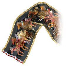 Laurel Burch 100% Silk Oblong Scarf Brown Bronze Native Horses Equestrian New