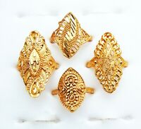 18k Gold Plated 4Pcs Rings Set Wedding Finger Rings South Indian Ethnic Jewelry