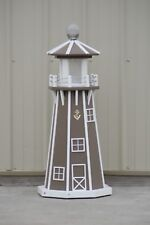 "39"" Octagon Electric and Solar Powered Poly Lumber Lighthouse (Clay/white trim)"