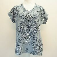 Style & Co Womens Top V Neck Cuffed Sleeve Tee T Shirt Printed Tile Blue $44