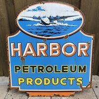 VINTAGE HARBOR PETROLEUM PORCELAIN METAL SIGN 2-SIDED OIL GAS STATION Sea plane