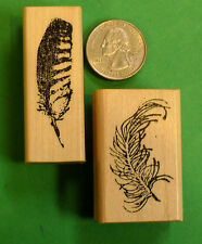 Bird Feathers, Set of (2) Wood Mounted Rubber Stamps