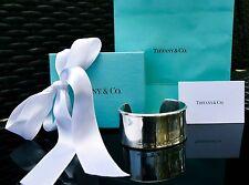 Tiffany & Co. Sterling Silver 1837 Wide Bangle Cuff Bracelet w Box, Bag, Ribbon