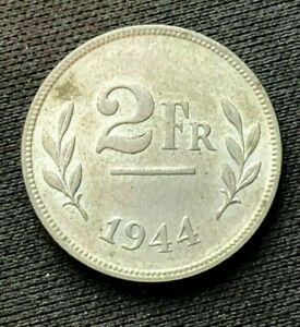 1944 Belgium 2 Francs Coin UNC   ( Allied Occupation Coinage )    #C595