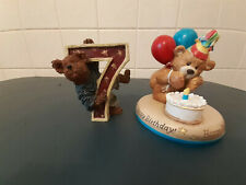 2 Birthday Figurines-Boyd's Bear 7 Year Old, Gund Bear 1st Birthday