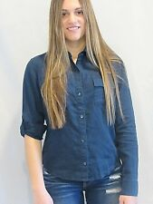 JUICY COUTURE Linen Button Down Shirt Small Blue NEW Long Sleeve or Roll