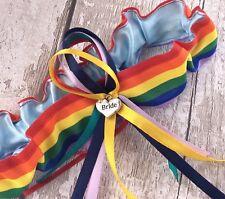Wedding Rainbow Garter.gay Pride Lesbian. Bride hart Charm .made In Uk