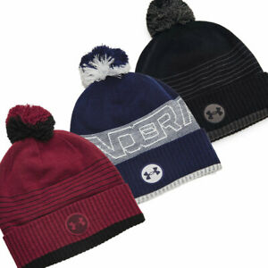 Under Armour Mens UA Truckstop Undeniable Fleece Beanie Bobble Pom Winter Hat