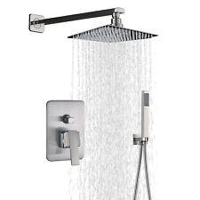 12'' Rainfall Shower Faucet Massage System Mixer Set Hand Shower Brushed Nickel