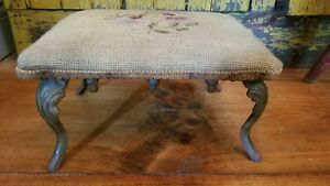 Old Victorian Style Foot Stool  Ornate Cast Iron Legs Different