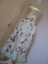 Pretty Jacques Vert BNWOT white skirt, brown and pale blue floral pattern UK 8
