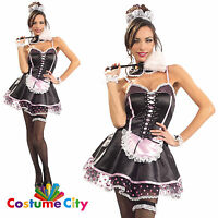 Womens Ladies Naughty French Maid Fancy Dress Hen Night Party Costume