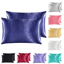 2Pc Solid Satin Silk Fabric Pillowcase Cushion Cover Bedding Standard Queen King