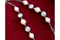 "Vintage Silver Tone Chain Necklace with Faux Pearl & Silver Tone Beads 36"" Long"