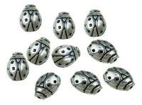 10 Metallperlen 12mm Silber Spacer MARIENKÄFER für Schmuck Halskette Armband J41